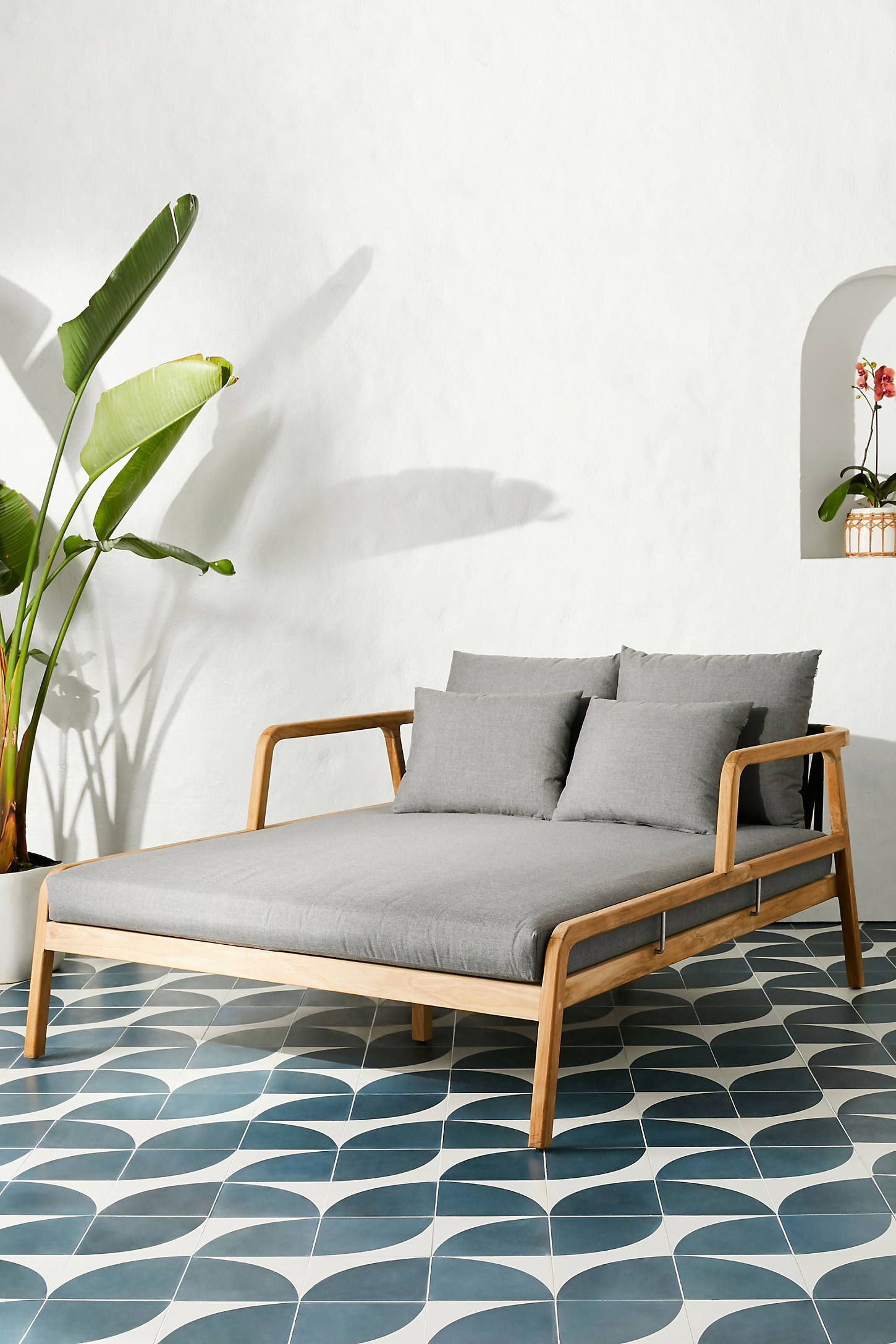 Neptune Indoor Outdoor Daybed By Anthropologie In Grey Size All Outdoor Backyard Furniture Patio Furniture Layout Outdoor Daybed