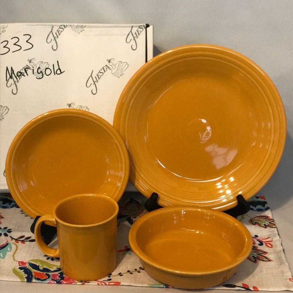 Fiestaware Marigold 4 Piece Place Setting Fiesta Retired Dish Set ...