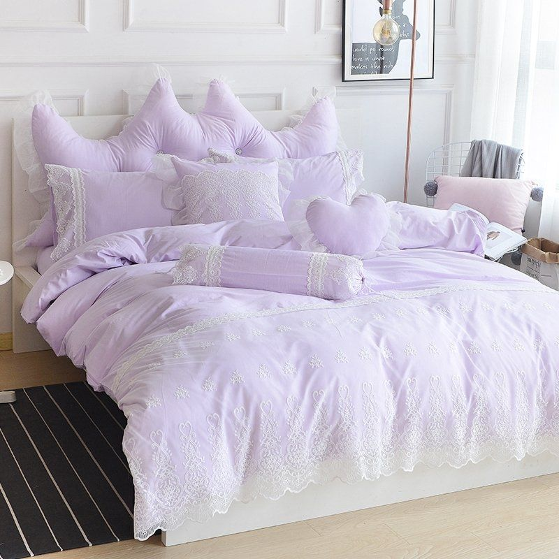 Romantic Chic Lace Quilt Set Lavender, Twin Size