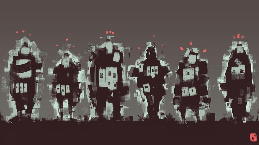 Blocky silhouettes drawn on my phone #sketch #drawing