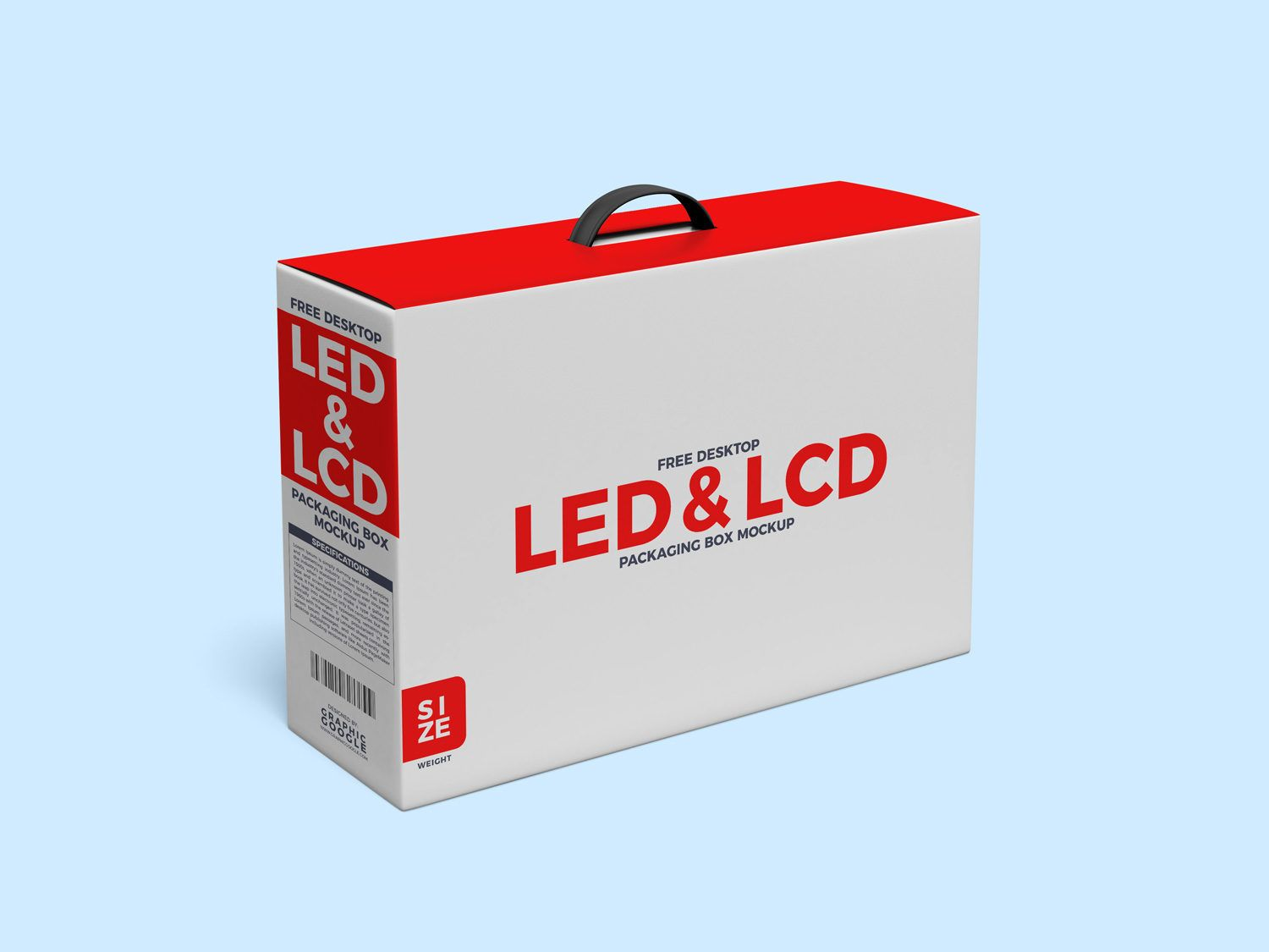 Download Desktop Lcd And Led Packaging Box With Handle Mockup Free Mockup Box Packaging Free Mockup Packaging