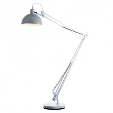 giant george carwardine style anglepoise floor lamp in white iconic lights 76 grey