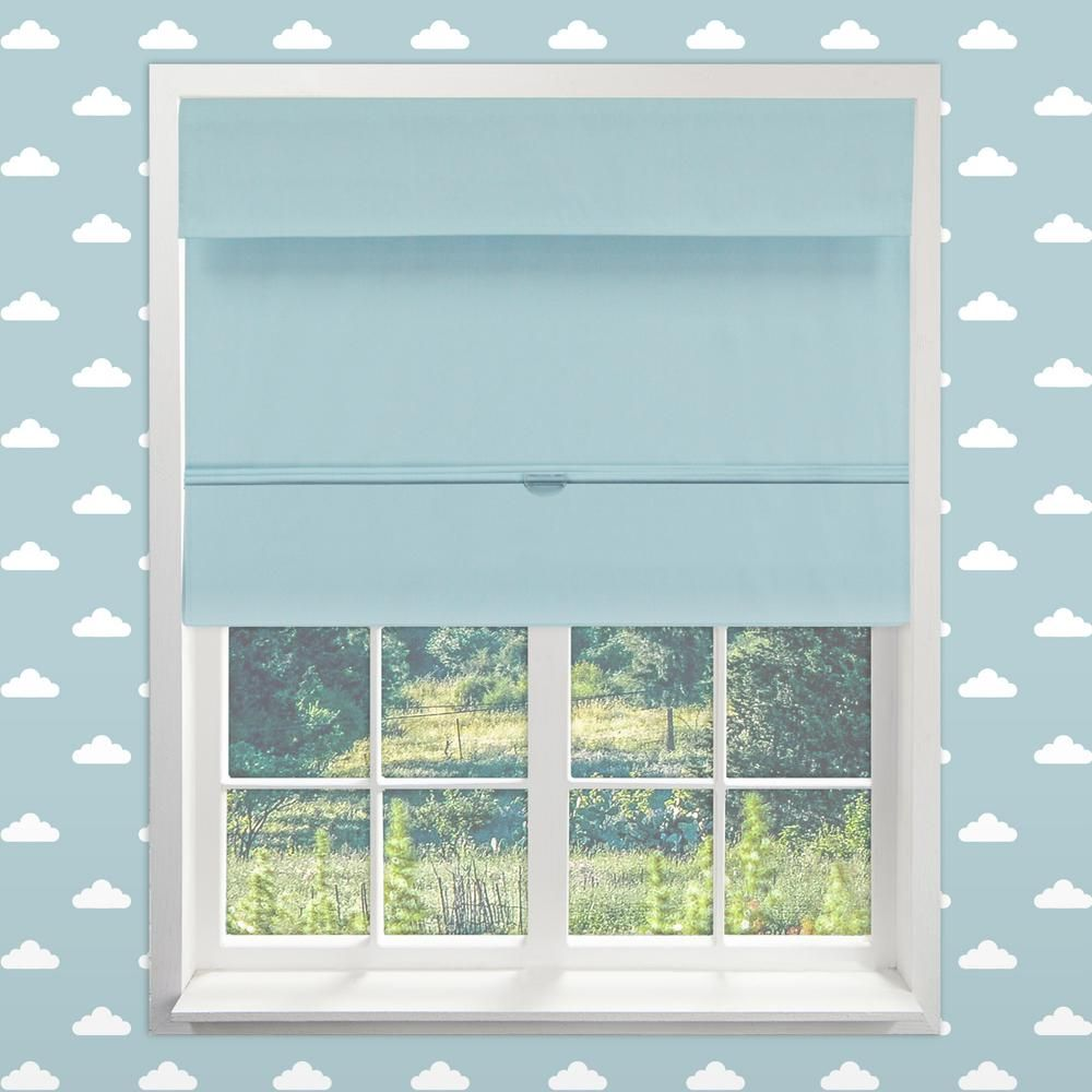 Chicology Baby Blue Cordless Blackout Easy To Install Polyester Roman Shades 48 In W X 64 In L In 2020 Curtains With Blinds Living Room Blinds Fabric Blinds
