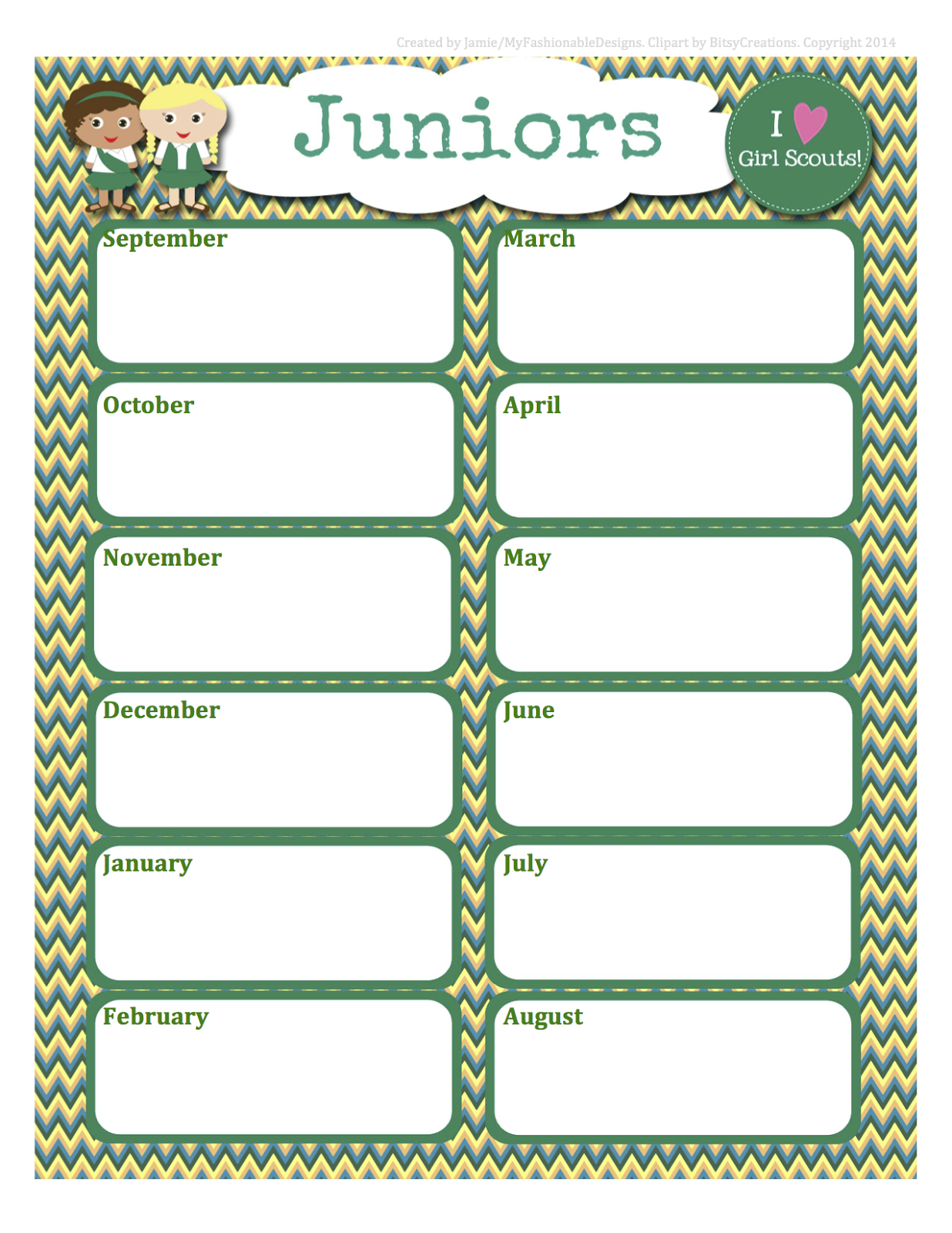 Girl Scouts Free Juniors Calendar