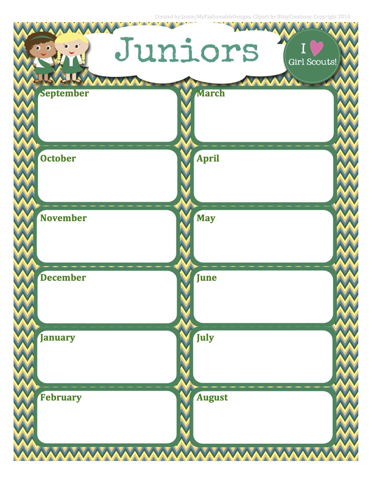 Girl Scouts Free Juniors Calendar