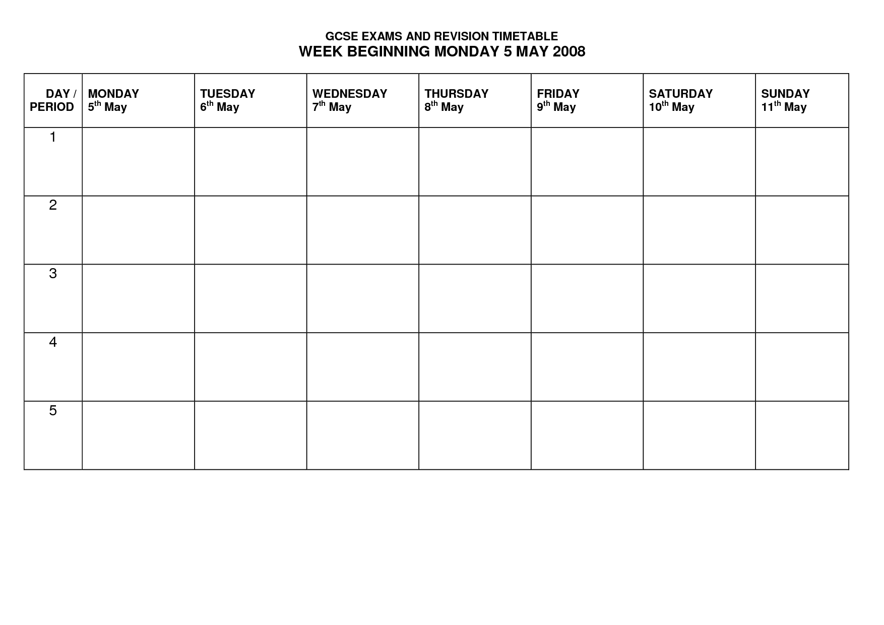 Revision Timetable Template UefKhct  School Help