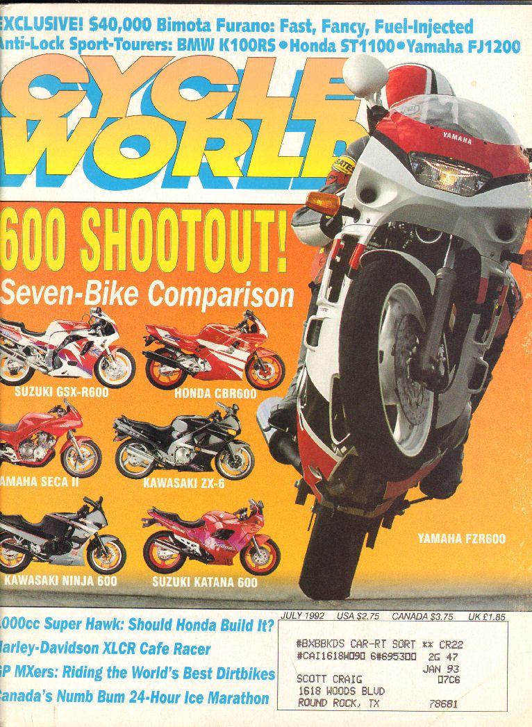 1992 July Cycle World Motorcycle Magazine Back Issue Motorcycle