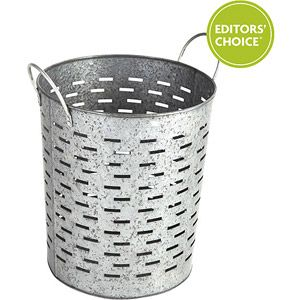 Better Homes and Gardens Galvanized Round Bin, Silver avail online to be shipped to Walmart local. Add landscape cloth and plant tomatoes?