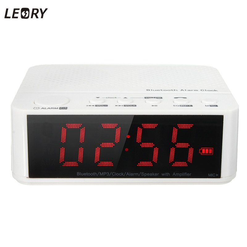 Leory Digital Led Display Alarm Clock With Bluetooth Speaker Fm