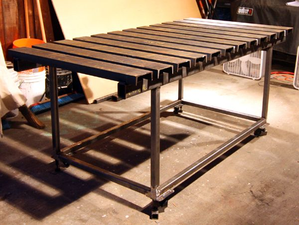Welding Table Designs re welding table design review Welding Table With Steel 2x3 Rectangular Tubing With Round Tubes Through The Ends As The