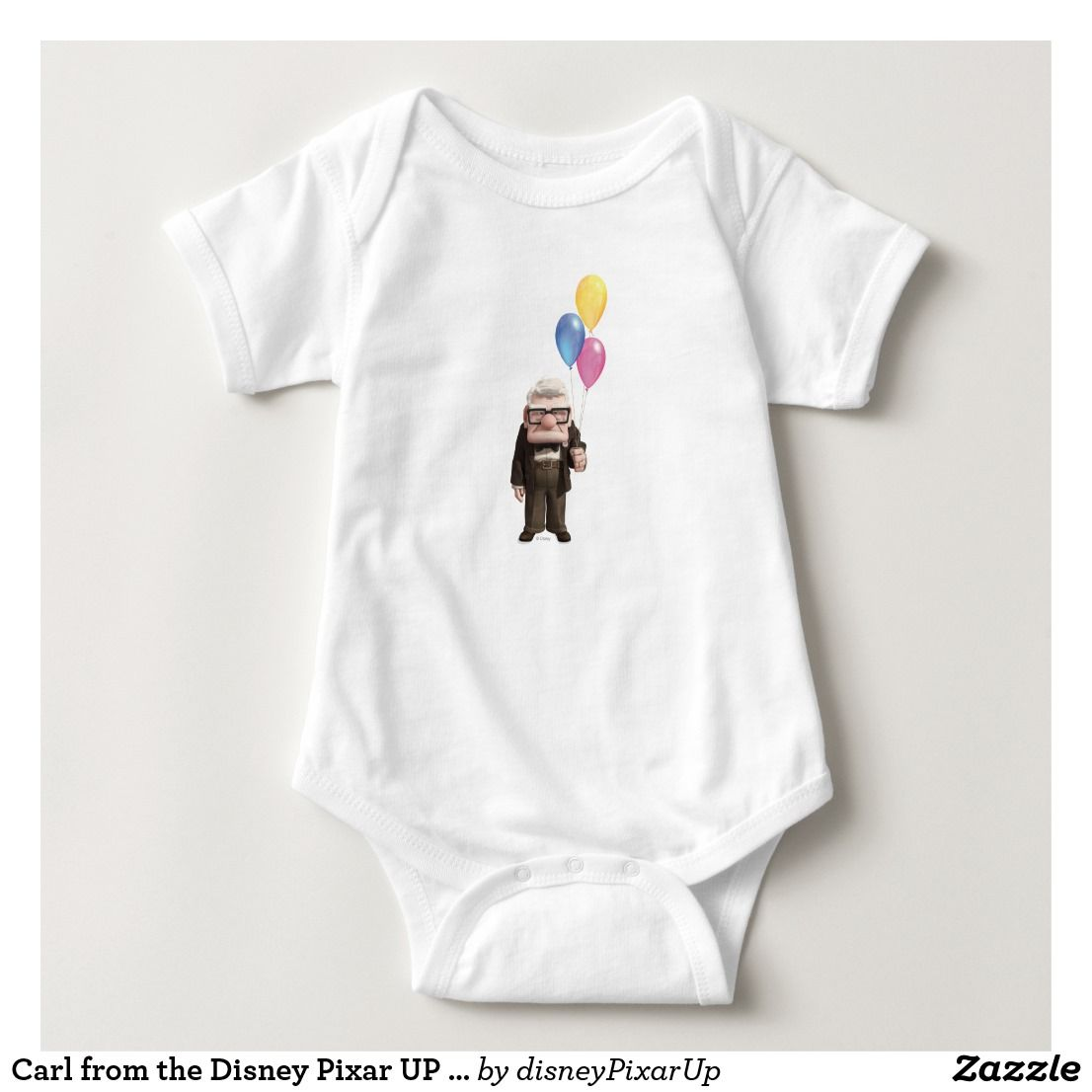 Carl from the Disney Pixar UP Movie Holding Baby Bodysuit. Great Gifts For The Perfect Baby Shower.   #Disney #BabyShowerGifts #DisneyKids #DisneyGifts #Personalize #DisneyBabyClothes #DisneyBabyShower #DisneyFan