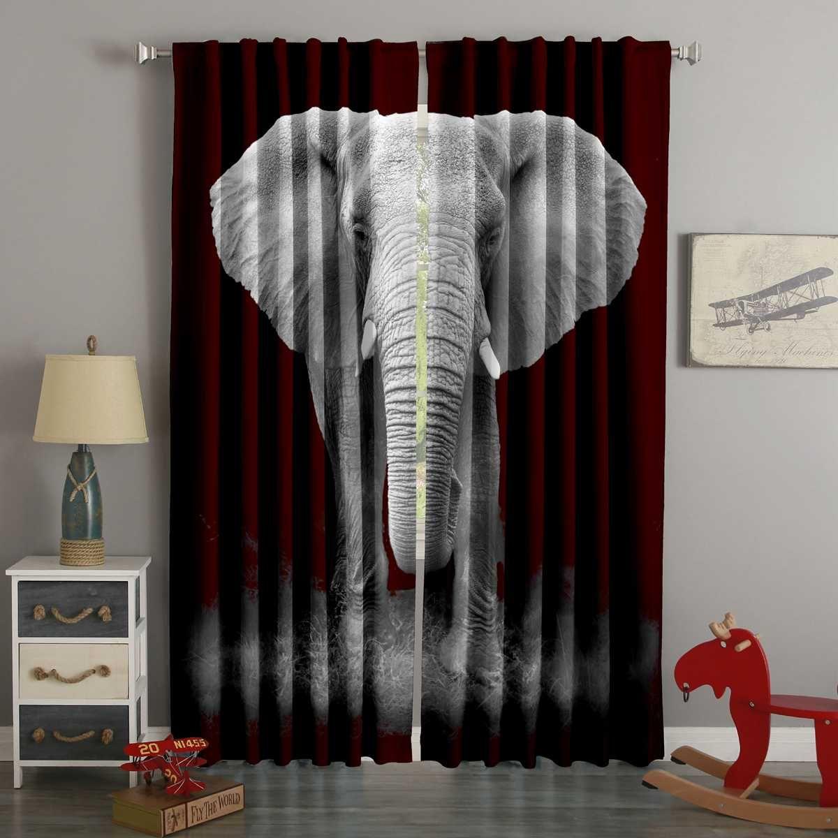 3d Printed Elephant Style Custom Living Room Curtains Elephant Home Decor Curtains Living Room Curtains #printed #living #room #curtains