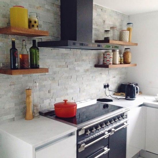 Grey Kitchen Feature Wall: Ice White Split Face Mosaic Tiles - Large