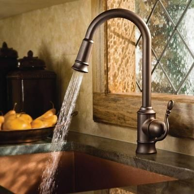 Moen Woodmere Single Handle Pull Down Sprayer Kitchen Faucet With