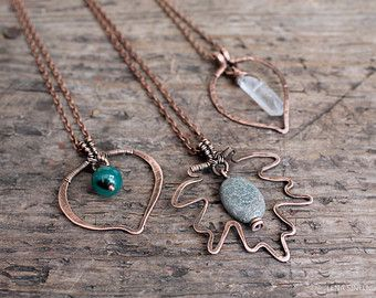 Leaf Pendant Wire Wrap Necklace Wire Wrapped Jewelry Handmade