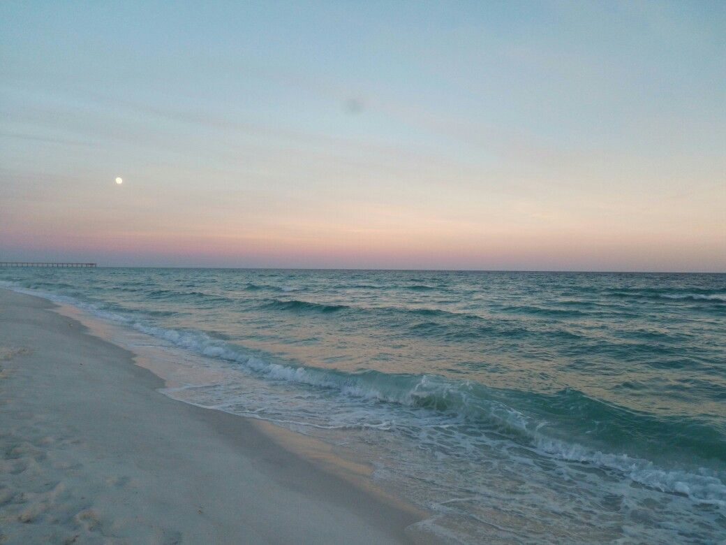 full moon sunrise Navarre Beach, Florida