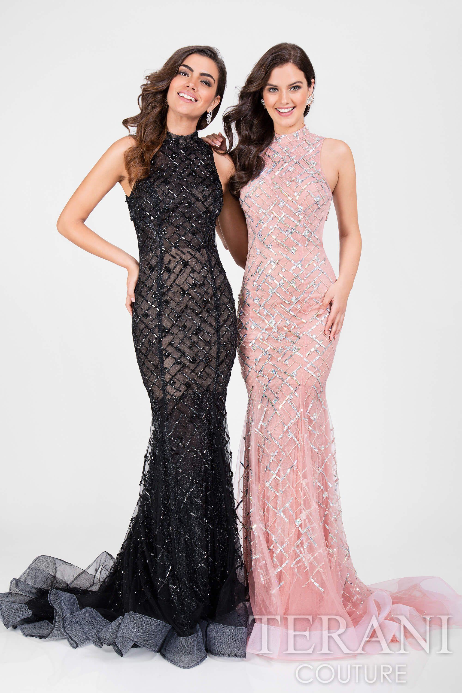 Beautiful mockneck mermaid designer prom gown in stretch glitter
