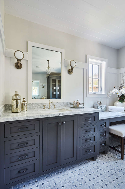 Gorgeous Black And White Bathroom Features An Espresso Bench With A Cream Cushion Placed On Gray Marble Bas Black Bathroom Grey Bathroom Vanity Marble Bathroom