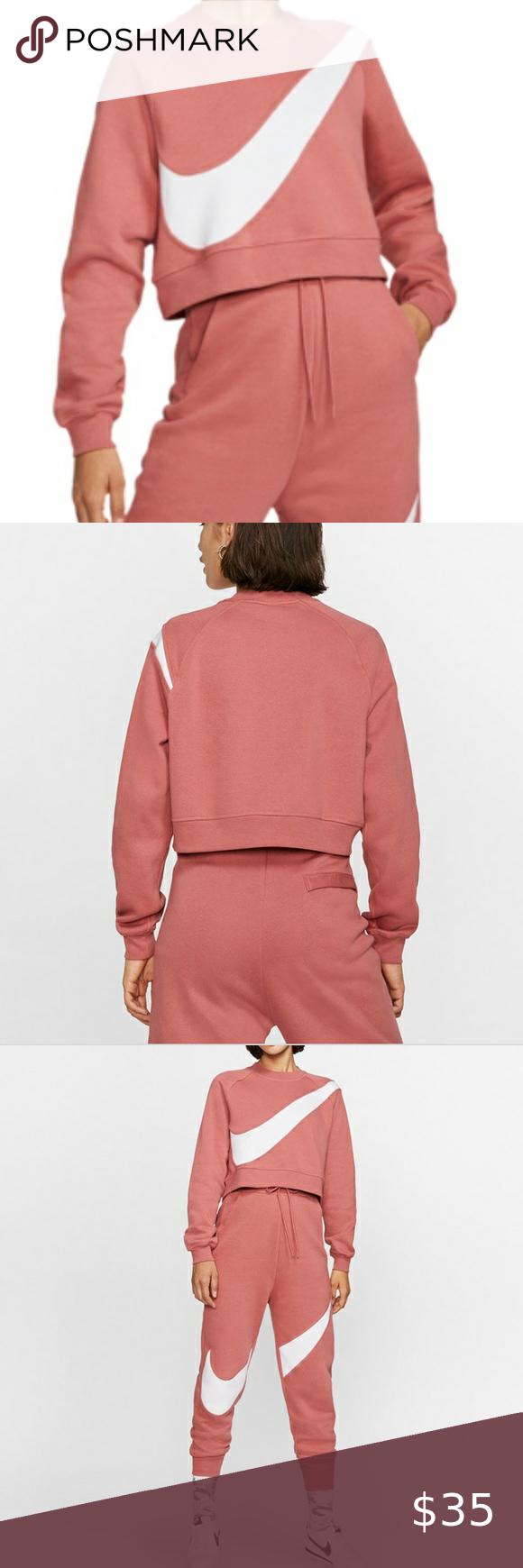 Nike Sportwear Fleece Crop Sweatshirt Redwood Sweatshirts Crop Sweatshirt Sweatshirt Fleece [ 1740 x 580 Pixel ]