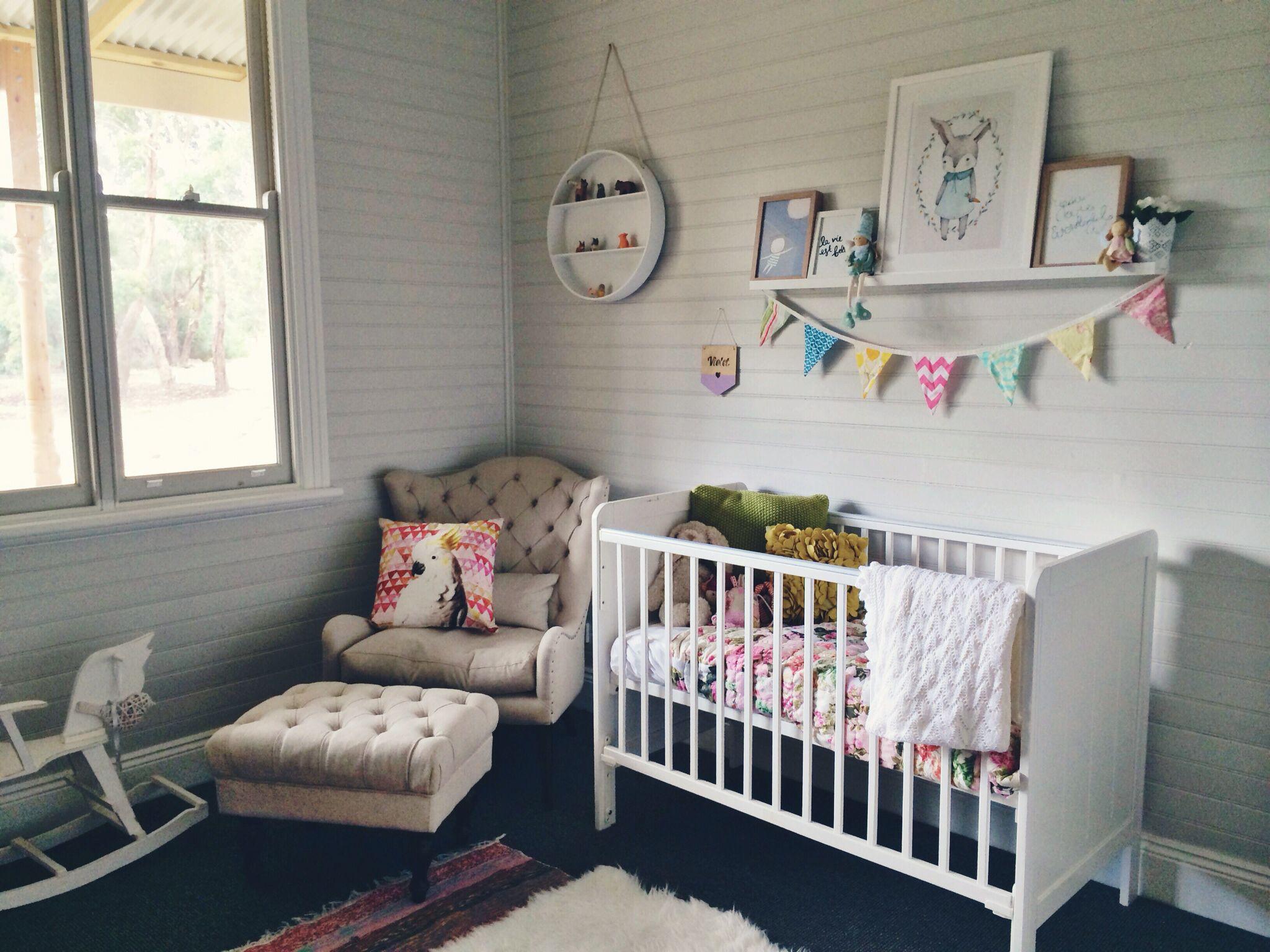 Baby girl nursery design decor interior idea shelf modern country ...