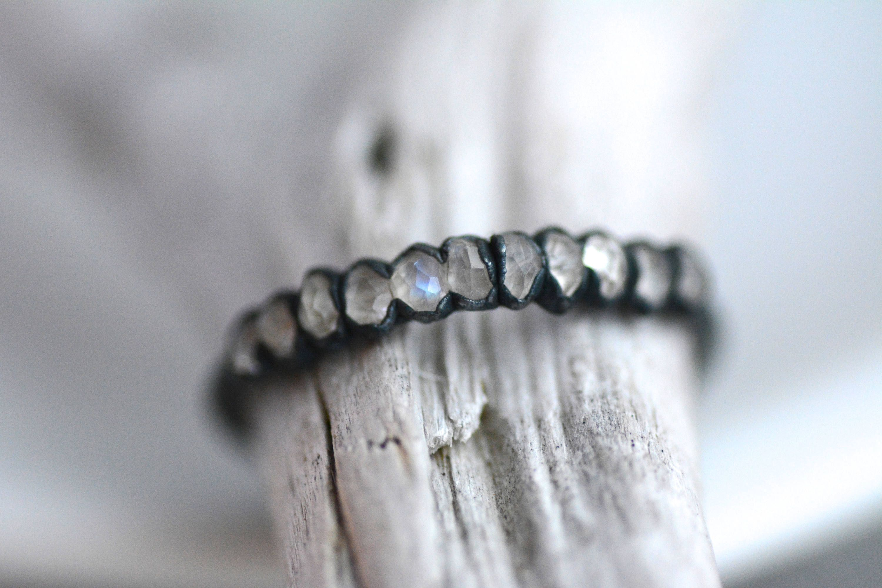 999 Pure Fine Silver Rainbow Moonstone Band Ring