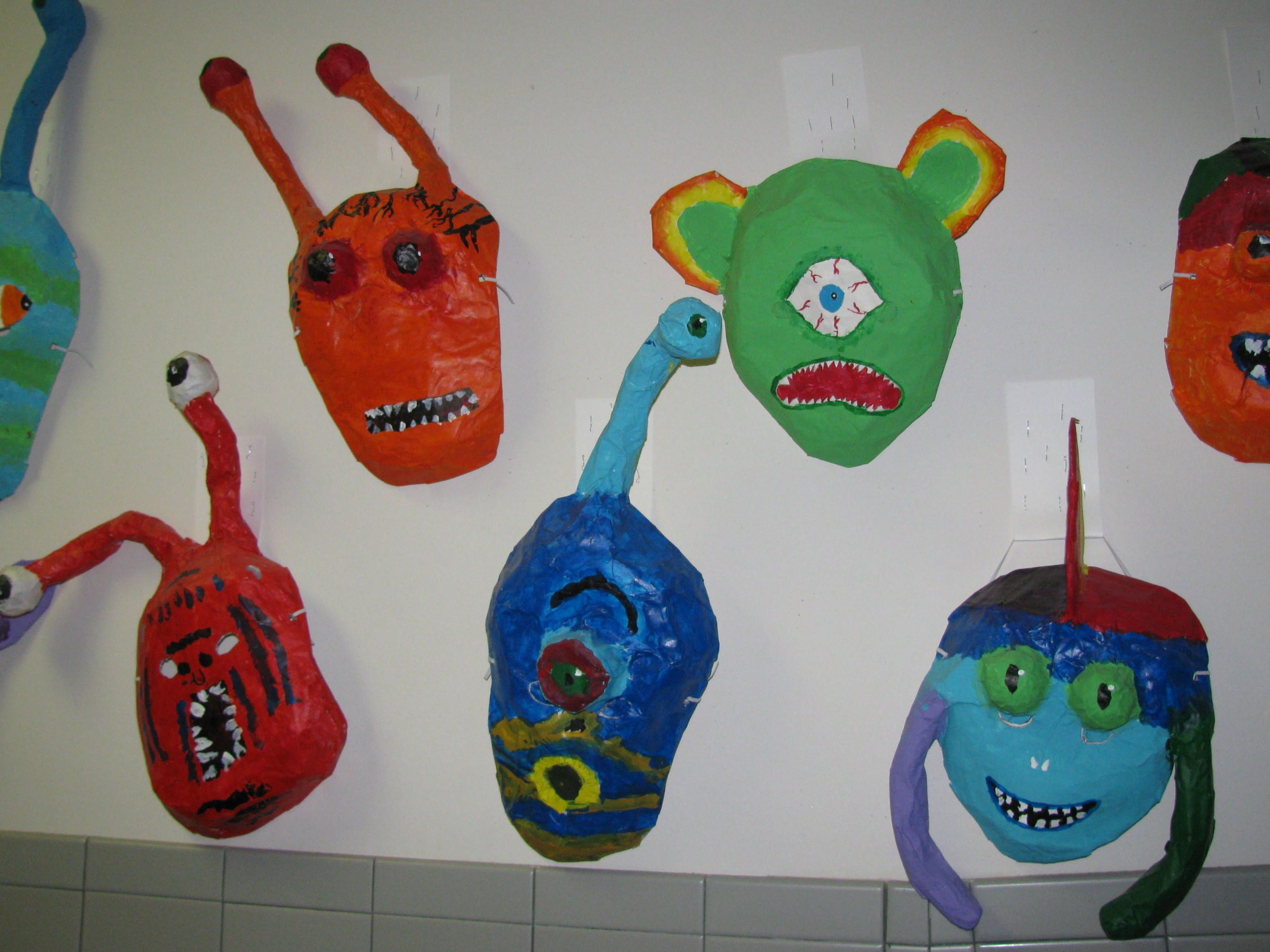 3rd grade paper mache alien masks mask forms are from for Paper mache art and craft