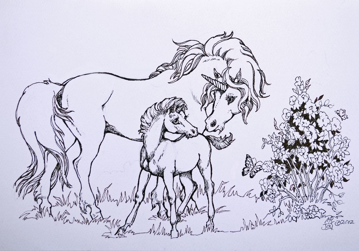 Baby Unicorn Horse Coloring Baby Drawing [ 875 x 1250 Pixel ]