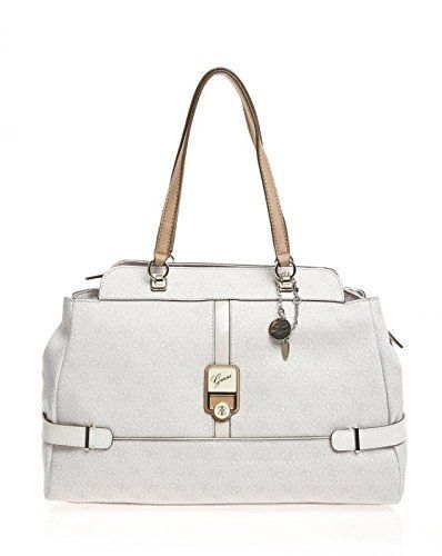 Authentic Guess Manda Satchel Handbag in White Leather 4c7390f97ef9e