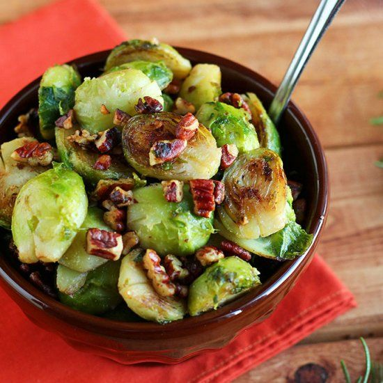 Brussels sprouts browned in a crunchy, toasted pecan butter make for a simple yet sophisticated side dish!