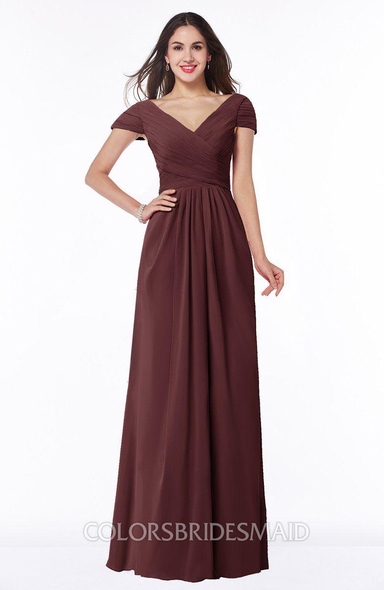 Colsbm evie burgundy glamorous aline short sleeve floor length