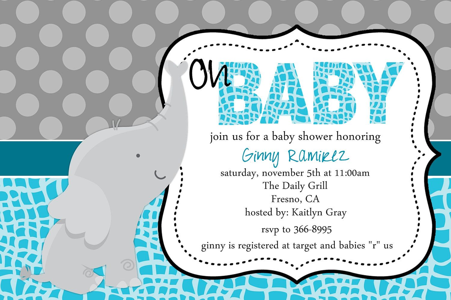 Baby Elephant Baby Shower Invitation Blue Pink Purple Little Peanut ...