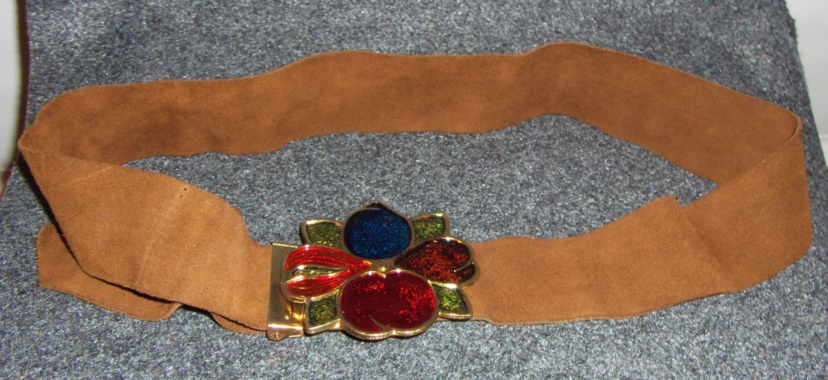 Vintage Brown Suede and Stain Glass Effect Fruit Belt Circa 1970's- adjustable by CurvyGirlCrafting78 on Etsy