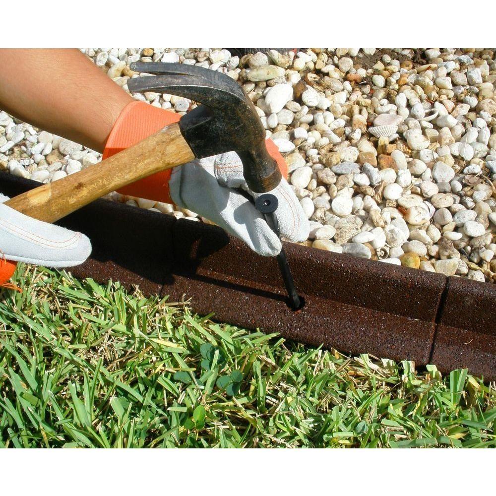 4 ft. Brown Rubber Landscape Edging | Landscaping edging, Backyard ...