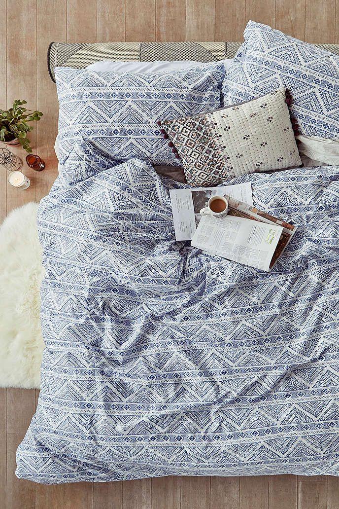 bettbezug set knox in blau mit print in 2018 house stuff pinterest bettw sche bett und. Black Bedroom Furniture Sets. Home Design Ideas