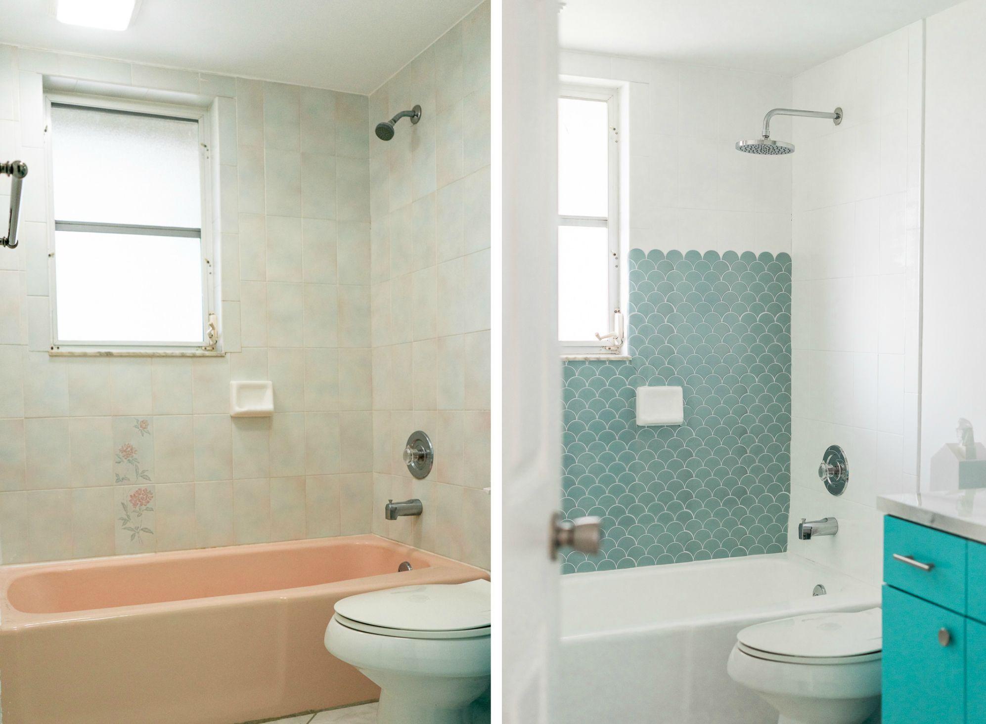 How To Paint A Bathtub And Shower For 50 Refinish Tub Painted Tub In 2020 Tub Tile Bathtub Walls Bathtub Makeover