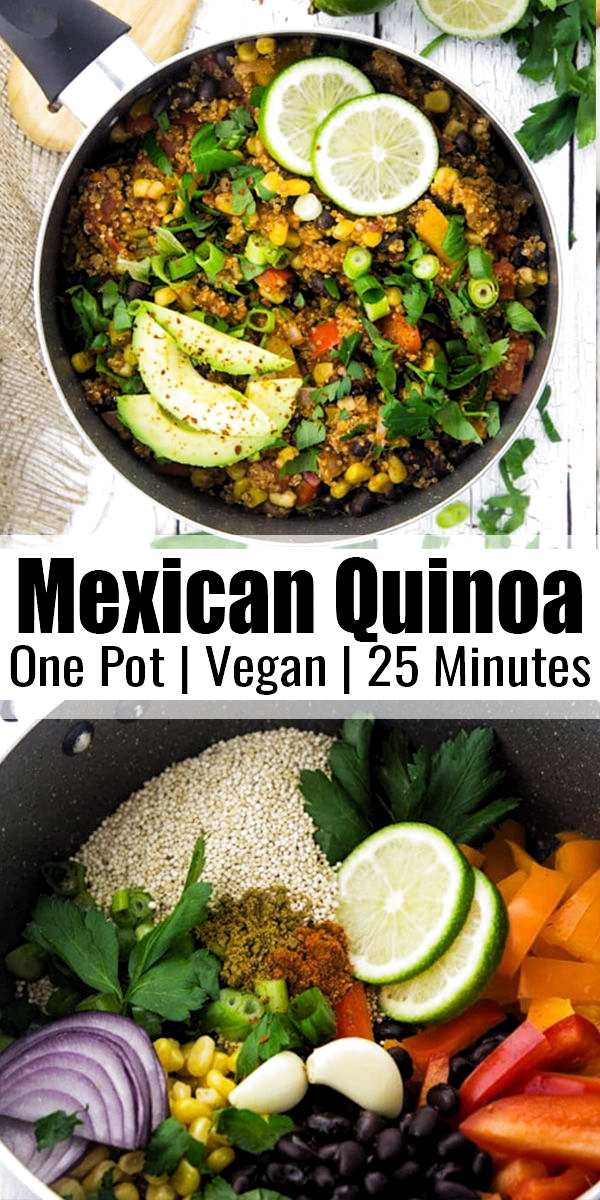 This vegan one pot Mexican quinoa with black beans and corn is one of my favorite vegan weeknight dinners! Its super easy to make, incredibly healthy, and so delicious. Plus, its packed with protein! Find more easy vegan recipes at veganheaven.org! #vegan #veganrecipes #vegetarian