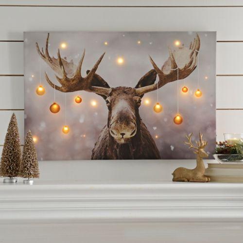 Holiday Moose Led Canvas Art Print Kirklands Christmas Paintings Moose Decor Christmas Moose
