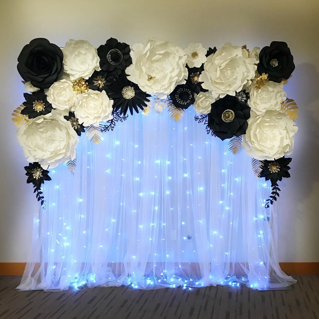 White And Black Party Backdrop With A Little Bit Of Gold