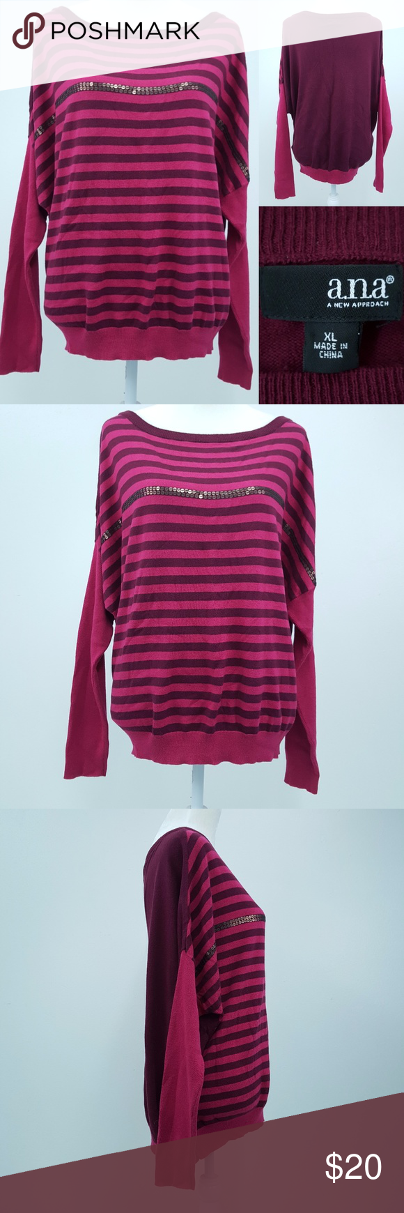 ana Magenta Pink Stripes Dolman Sweater Women XL | Pink stripes ...