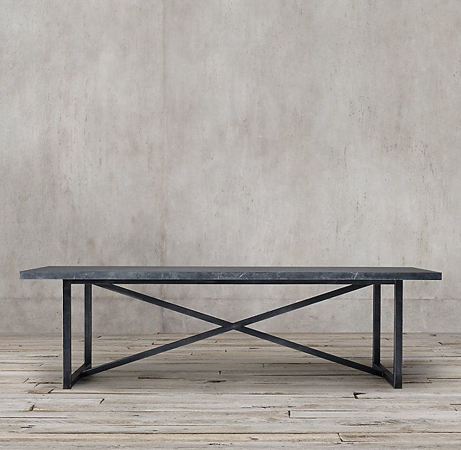 ... Table:Exemplifying The Cool Minimalism Of Italian Design, Torano  Juxtaposes An Austere X Base Metal Frame With A Clean Edged, Polished Marble  Top.
