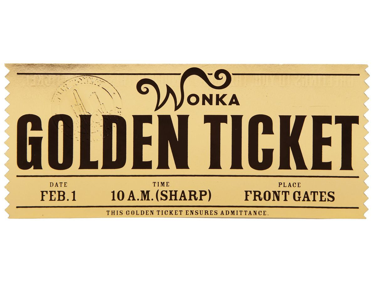 HERO WONKA GOLDEN TICKET FROM TIM BURTON\'S CHARLIE AND THE CHOCOLATE ...