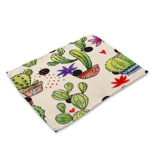 Dining Room Table Protector Pads Classy Cotton Linen Mat Placemats Tropical Plant Cactus Anti Slip Inspiration Design