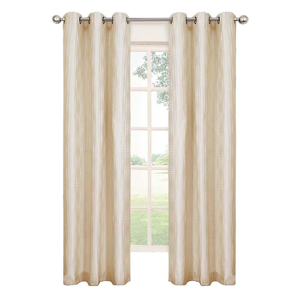 Eclipse Captree Blackout Ivory Polyester Grommet Curtain