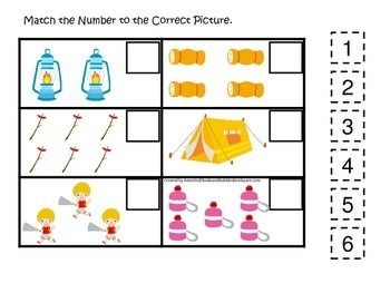 Camping Themed Match The Number Early Math Activity For Preschool Children