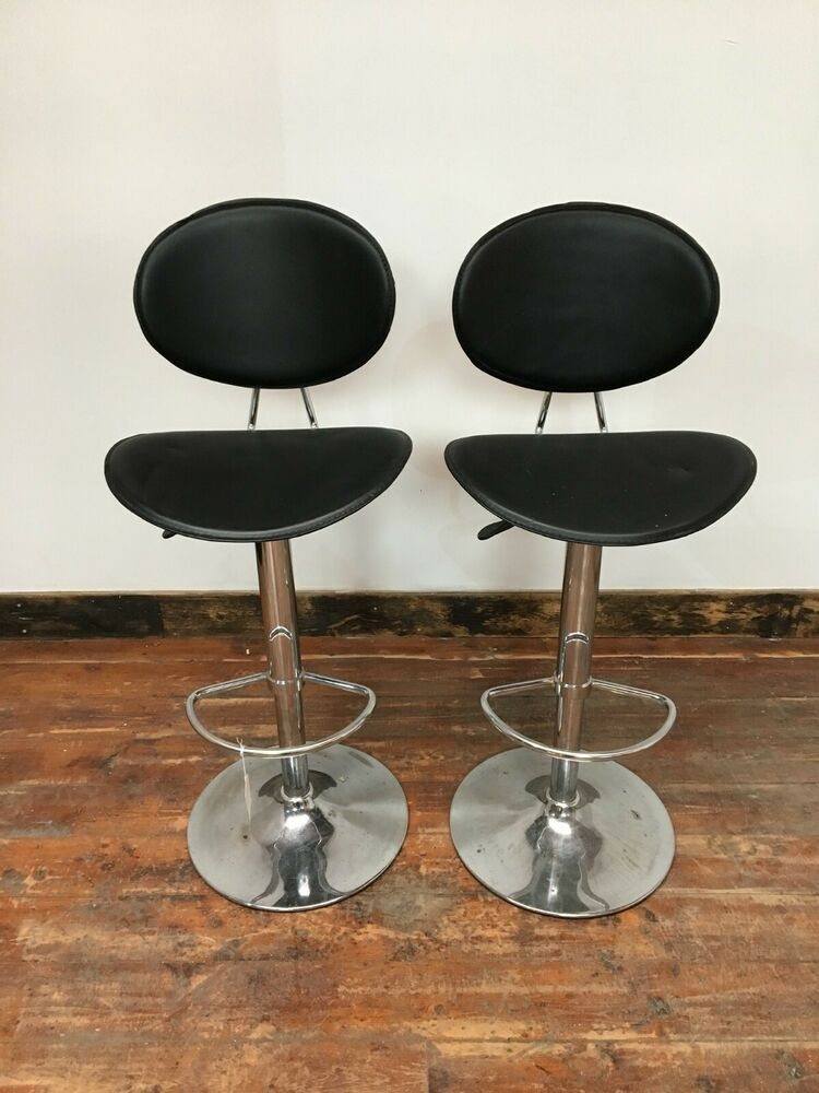 Groovy Chrome Base Bar Stools Black Height Adjustable Swivel Alphanode Cool Chair Designs And Ideas Alphanodeonline