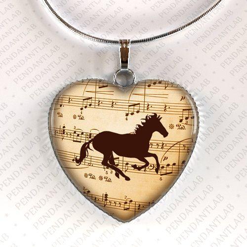 Music horse heart pendant horse jewelry horse necklace birthday music horse heart pendant horse jewelry horse necklace birthday horse lady gift aloadofball Choice Image