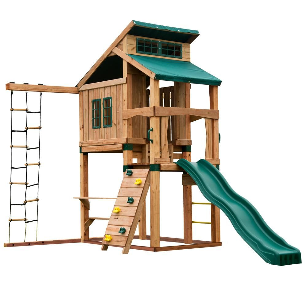 The Swing-N-Slide Hideaway Clubhouse with lifetime warranty, Summit Slide  is the perfect addition to any backyard. It is designed with numerous play  ...