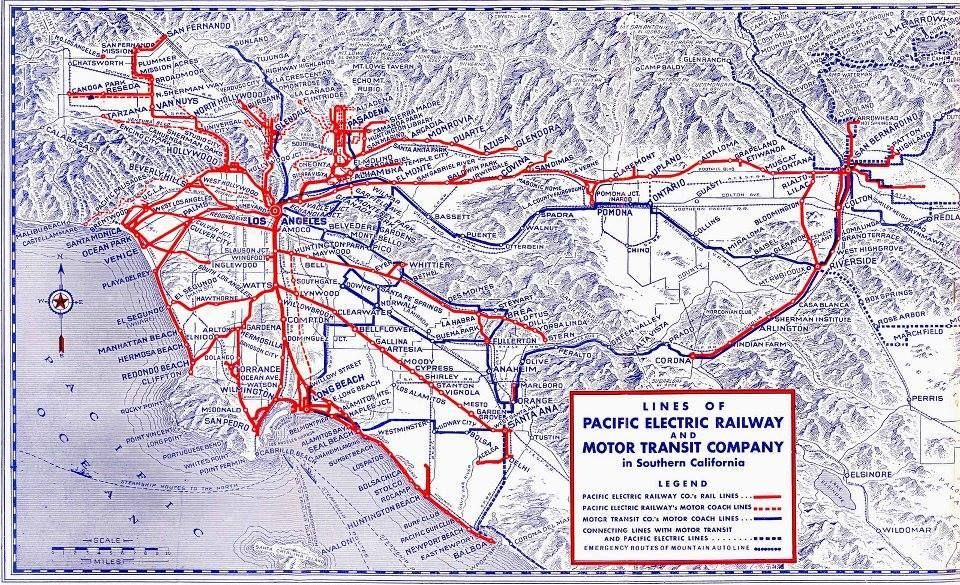 pacific electric railway map Pacific Electric Railway Red Car Los Angeles Southern pacific electric railway map
