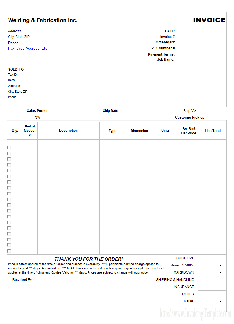 Welding And Fabrication Service Invoice Template Invoice