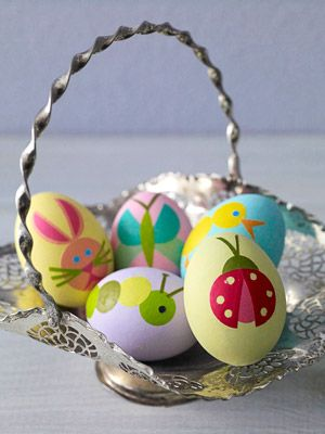 Gorgeous Decoupage Easter Eggs  - some of these could also be done with fingerprint...